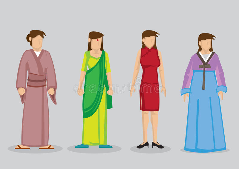 Illustration traditionnelle de vecteur de costumes de mode asiatique de femme illustration stock