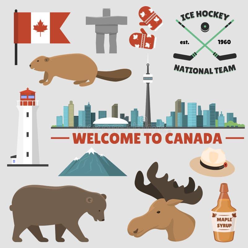 Illustration traditionnelle de vecteur de symbole national de conception de tourisme de pays d'objets de Canada de voyage illustration de vecteur
