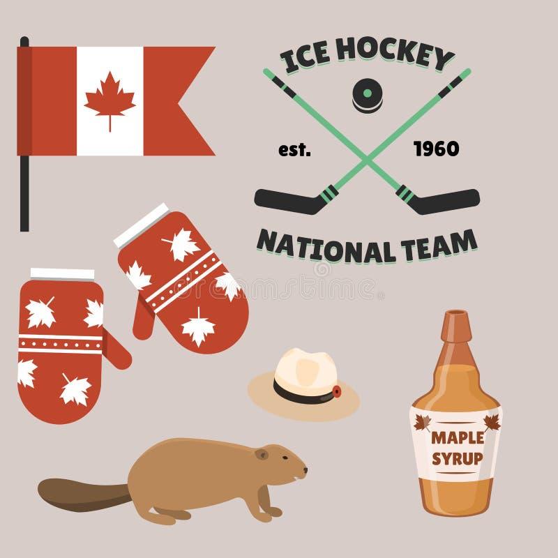 Illustration traditionnelle de vecteur de symbole national de conception de tourisme de pays d'objets de Canada de voyage illustration stock
