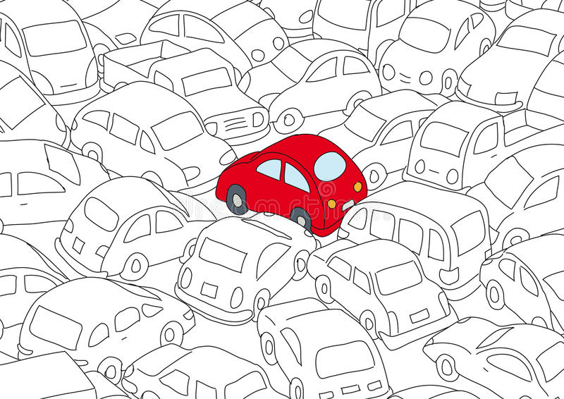 Illustration of traffic jam. Shown by an array of small vehicles in outline with a single car in the center painted in red and silver vector illustration