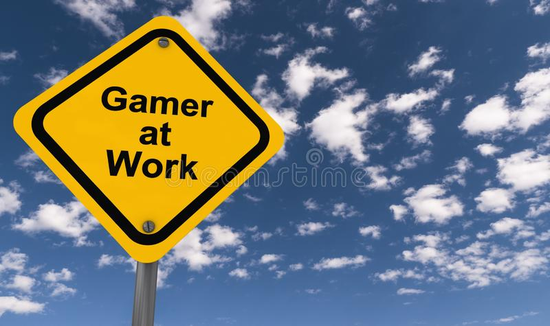 Gamer at work. An illustration of a traffic sign with the words Gamer at Work stock illustration