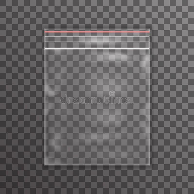 Illustration transparente de vecteur de fond d'icône de sachet en plastique illustration stock