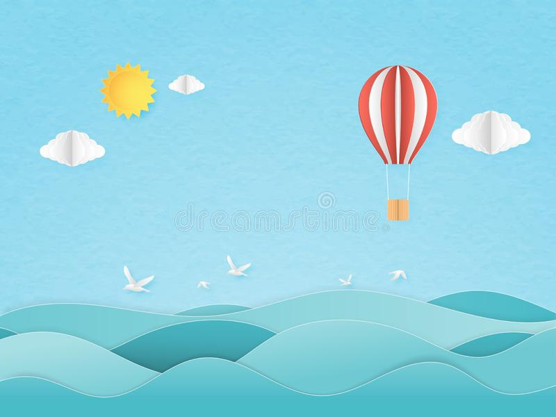 Illustration of travel in a vacation time. Origami made red and white hot air balloon flying over seascape with sun and cloud, royalty free illustration