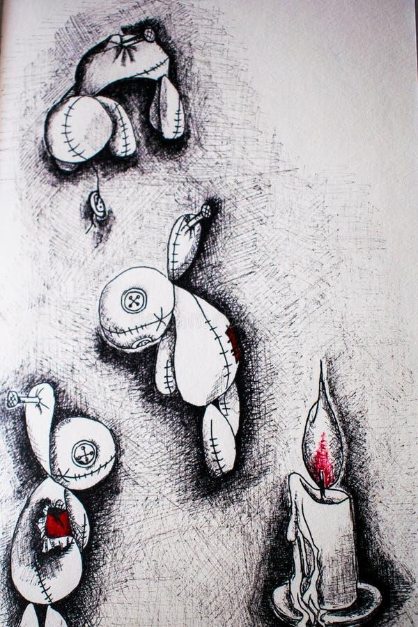 Illustration tre voodoodockor som dras av den svarta pennan royaltyfri foto
