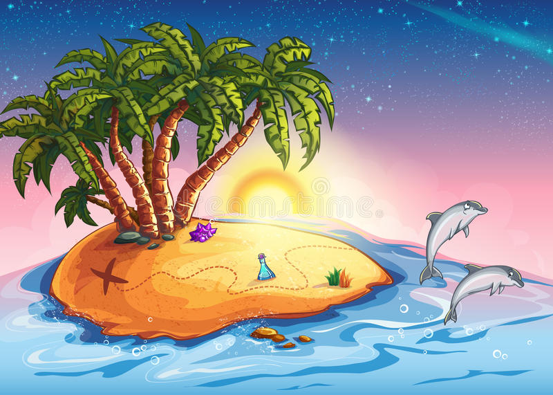 Illustration of Treasure Island in the ocean and dolphins vector illustration