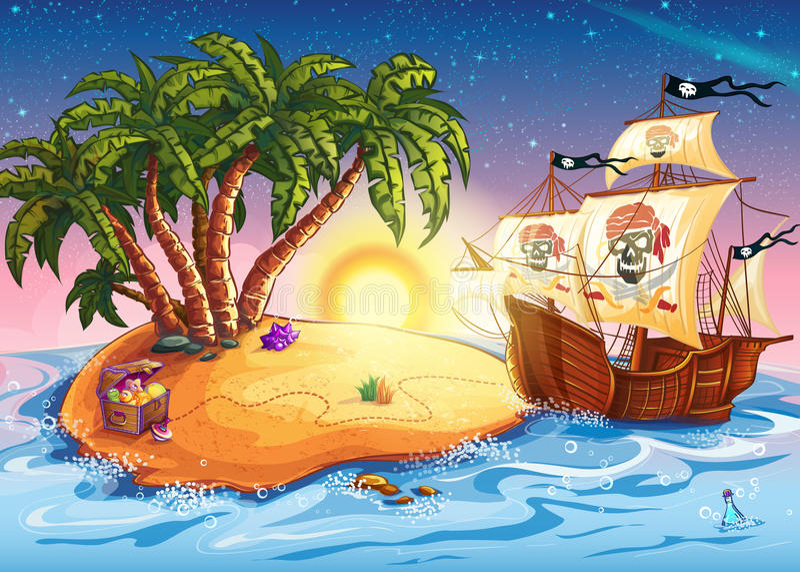 Illustration of treasure island and pirate ship vector illustration