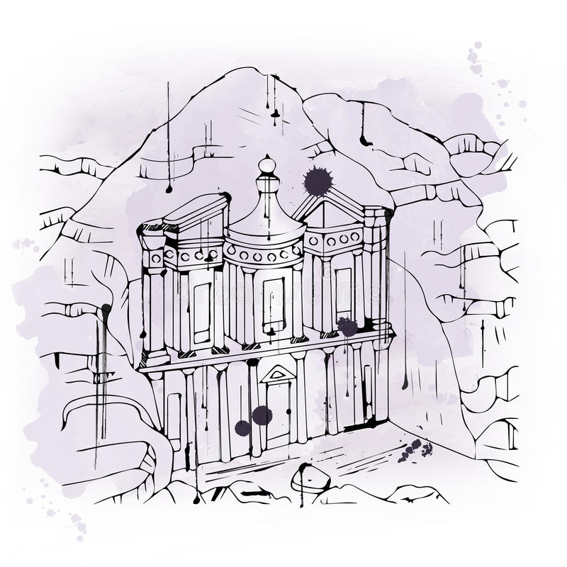 Illustration of The Treasury at Petra vector illustration