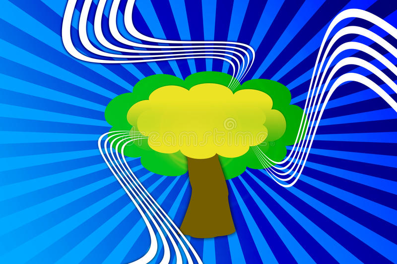 Illustration a tree. Illustrations of green trees and a blue background stock illustration