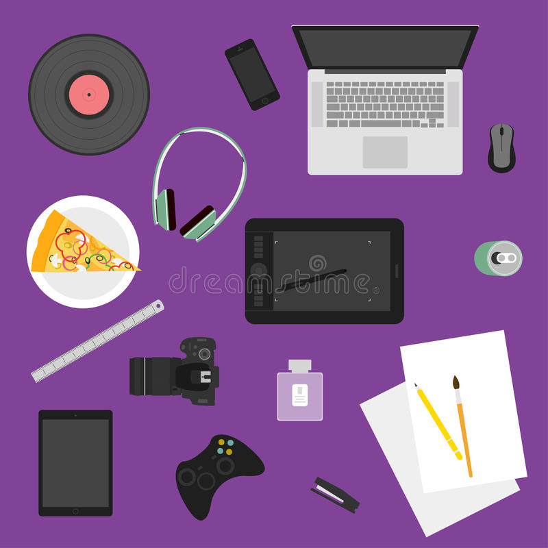 Illustration in trendy flat style with objects used in usual life of people on purple background for use in design vector illustration