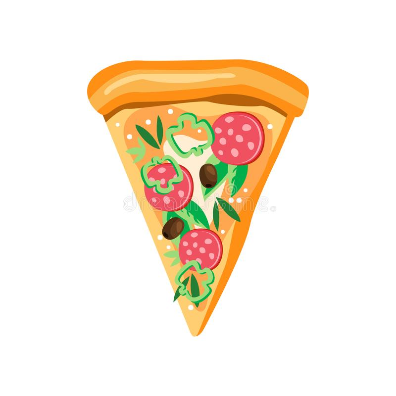 Triangle pizza slice with pepperoni, pepper, olives, mozzarella and basil leaves. Fast food theme. Flat vector icon royalty free illustration