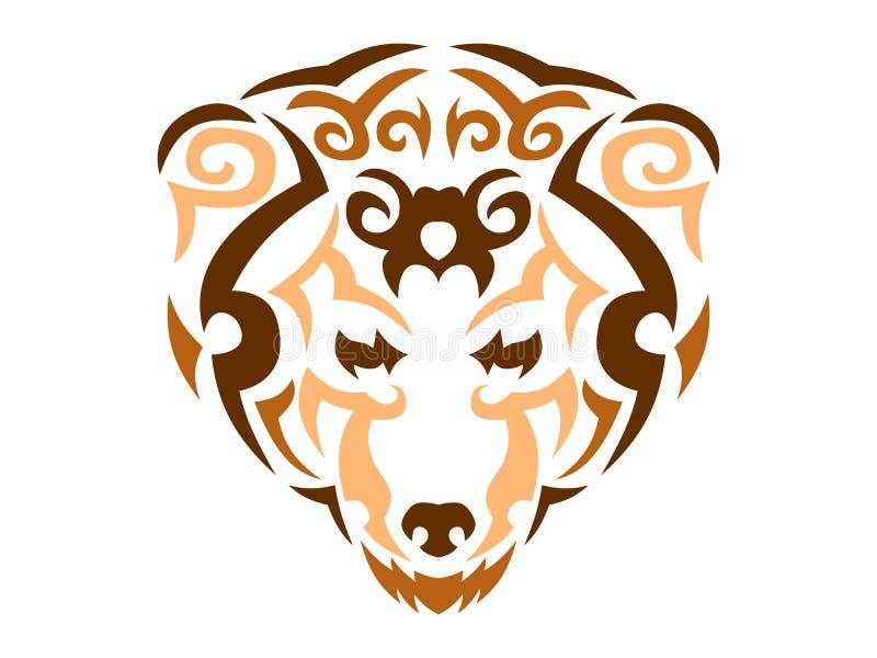 Illustration tribale d'ours, copie animale de couleur pour le T-shirt illustration stock