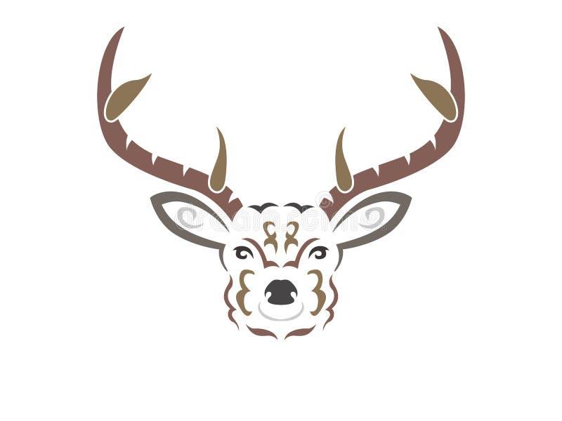 Illustration tribale de cerfs communs de couleur illustration stock