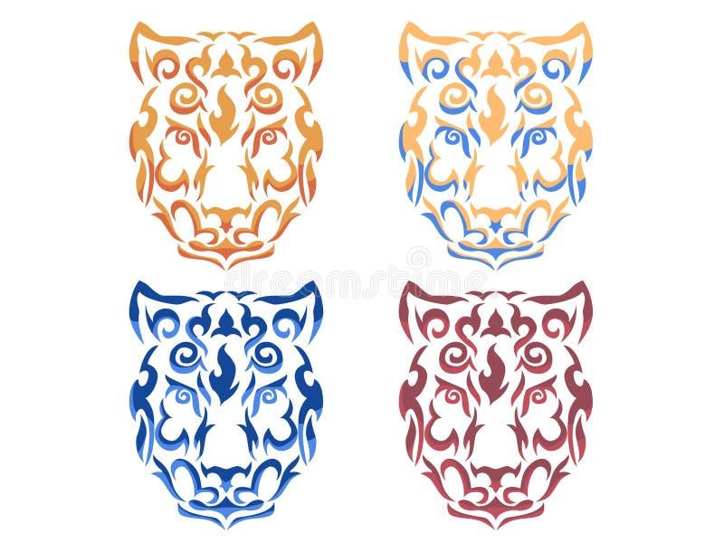 Illustration tribale de léopard de neige illustration de vecteur