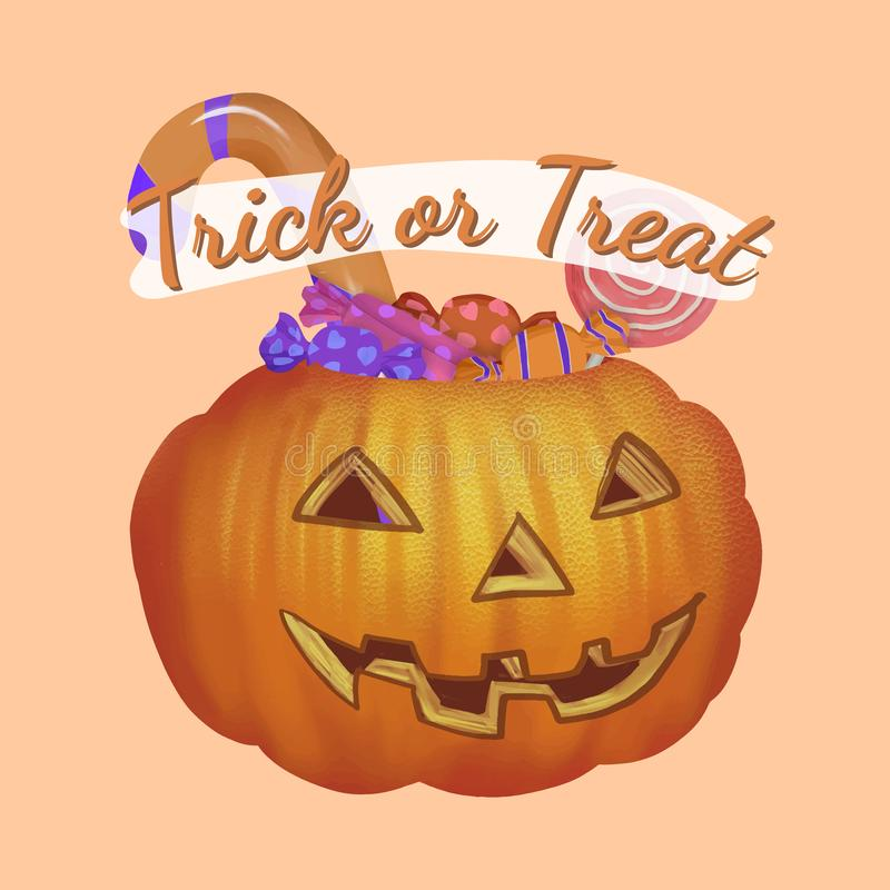 Illustration of trick or treat icon vector for Halloween stock illustration