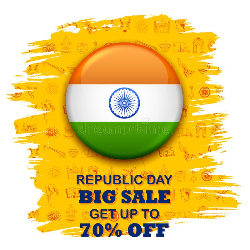 Tricolor banner with Indian flag for 26th January Happy Republic Day of India royalty free illustration