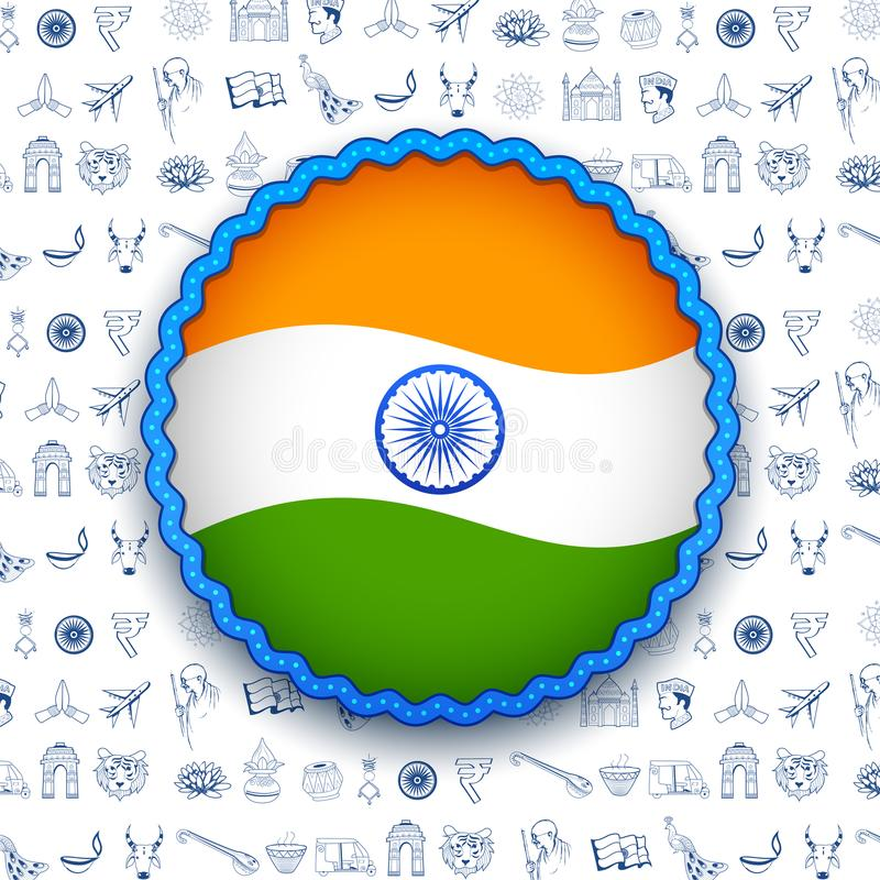 Tricolor banner with Indian flag for 26th January Happy Republic Day of India stock illustration