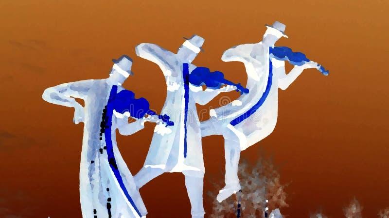 Illustration of a trio of  violinists vector illustration