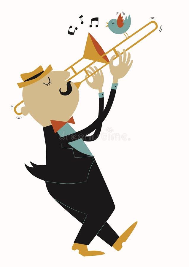 Illustration Of Trombonist In Cartoon Style Royalty Free Stock Photos