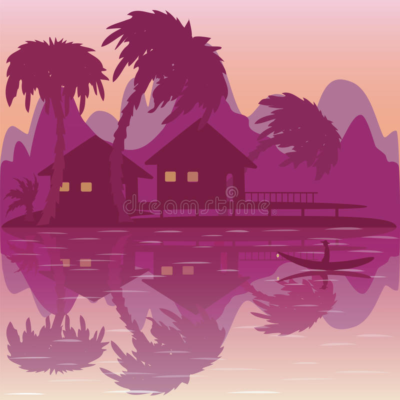 Illustration of tropical beach with bungalow and palms. Illustration of sunrise on tropical beach with bungalow and palms royalty free illustration