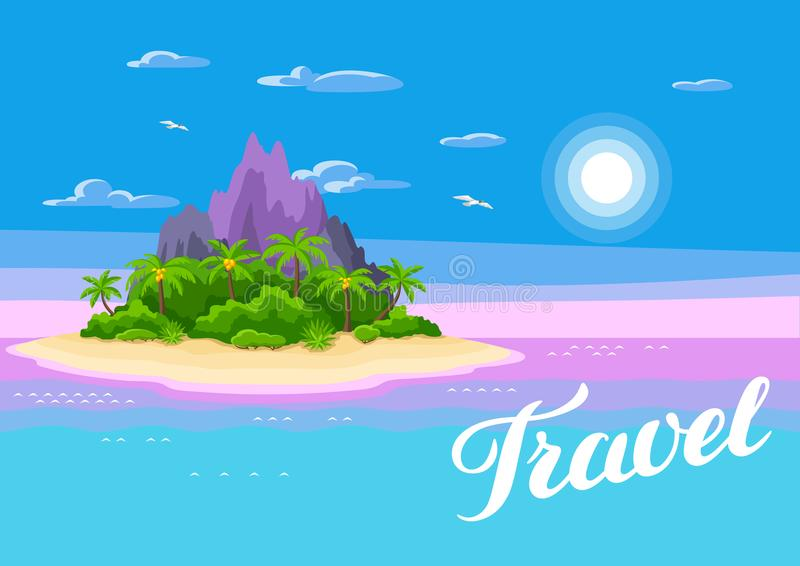 Illustration of tropical island in ocean. Landscape with ocean, palm trees and rocks. Travel background royalty free illustration