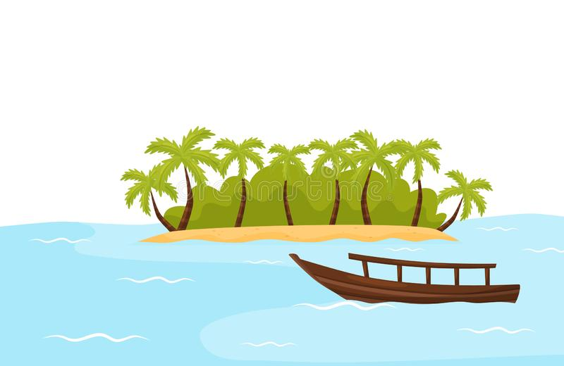 Tropical island with sand and palm trees and boat in blue ocean. Natural landscape. Summer scenery. Flat vector design. Illustration of tropical island with sand vector illustration