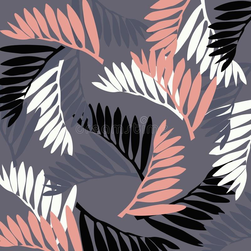 Illustration - tropical leaves on a gray background. Tropical pattern. Illustration - tropical leaves on a gray background royalty free illustration