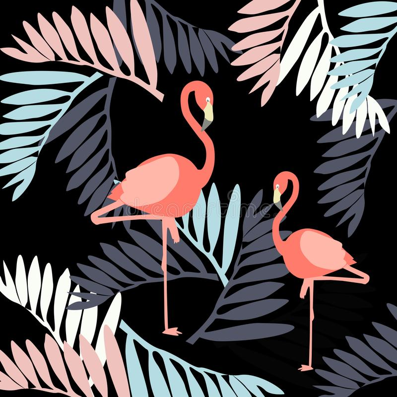 Illustration - tropische Blätter auf einem grauen Hintergrund vektor abbildung