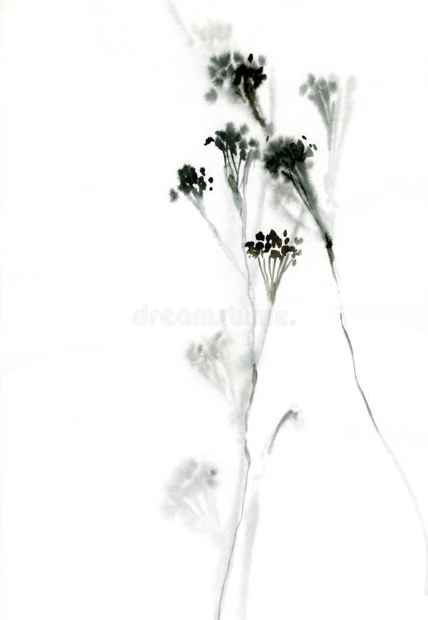 Illustration trouble grise de fleur sauvage d'aquarelle illustration stock
