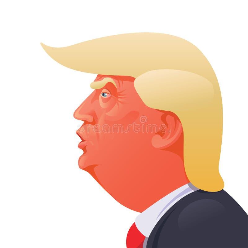 Donald Trump caricature. A caricature portrait of Donald John Trump stock illustration