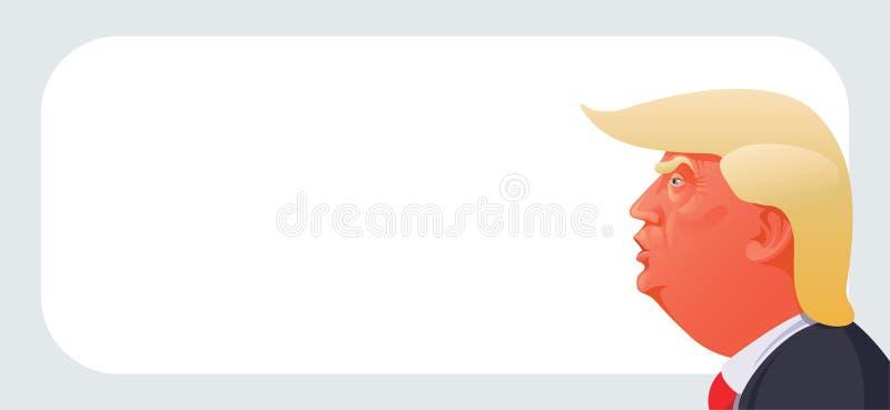 Donald Trump caricature. A caricature illustration of Donald Trump on white background stock illustration