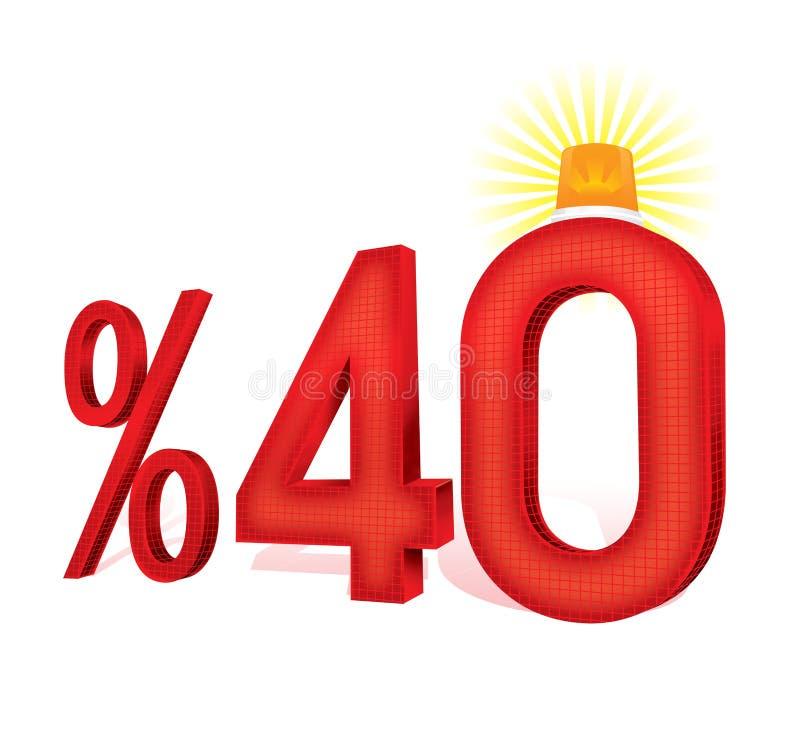 Illustration turque du pourcentage 40 d'échelle de remise photo stock