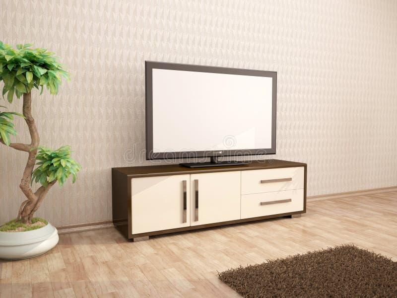 Illustration of TV minimalist interior. 3d illustration of TV minimalist interior royalty free illustration