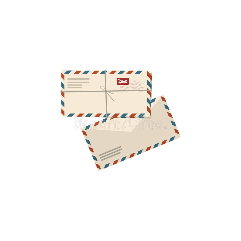 Illustration of Two airmail envelopes on white background stock illustration