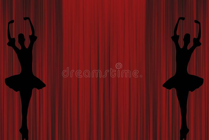 Two ballet ballerinas dancing on pointe shoes silhouettes on a red theater stage curtain background stock illustration