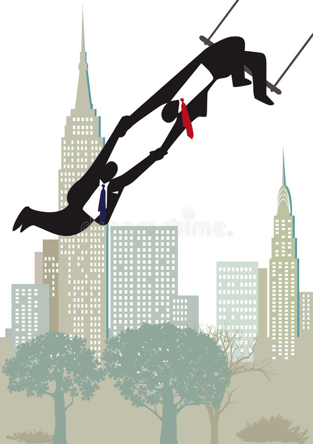 Download Businessmen On Highwire Trapeze Stock Image - Image of thread, buildings: 30314923