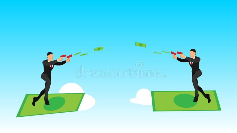 Illustration of two businessmen using banknotes launchers in the sky. flat vector characters with solid colors. surfing with money vector illustration