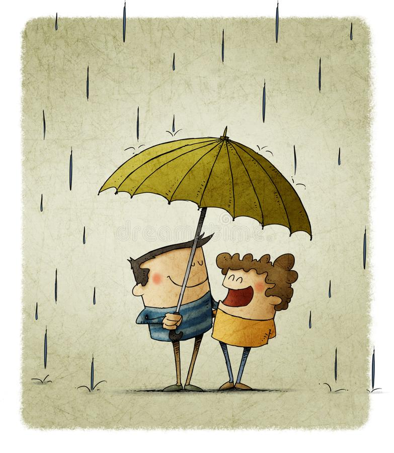 Two children sharing an umbrella to protect themselves from the rain. Illustration of two children sharing an umbrella to protect themselves from the rain royalty free illustration
