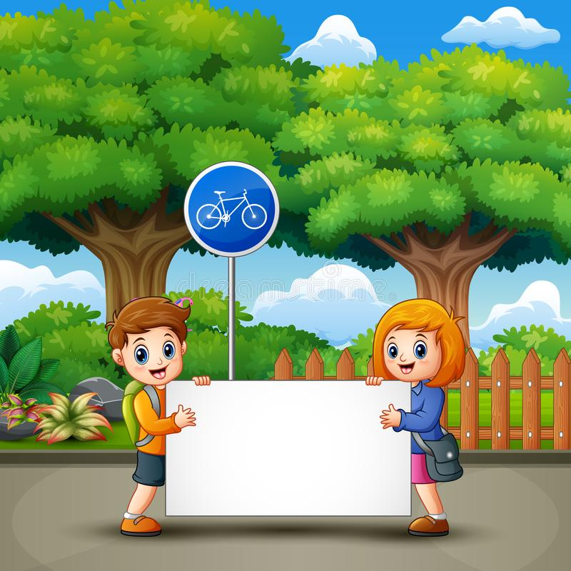 Two cute kids are holding a banner in the city park stock illustration