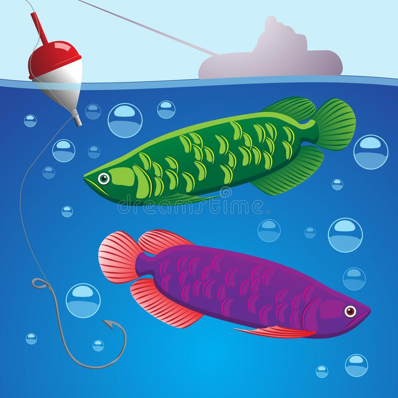 Illustration of two fish underwater hook with fishing line and float above the water silhouette of a boat and fisherman. Vector vector illustration
