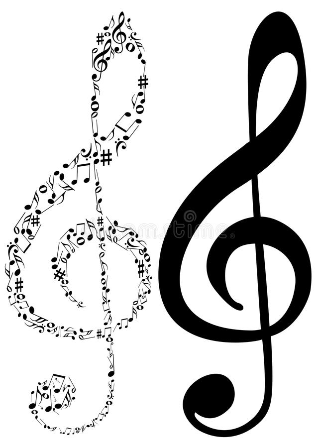 Illustration of two G clef and music notes. On white vector illustration