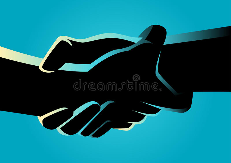 Two hands holding each other strongly. Illustration of two hands holding each other strongly stock illustration