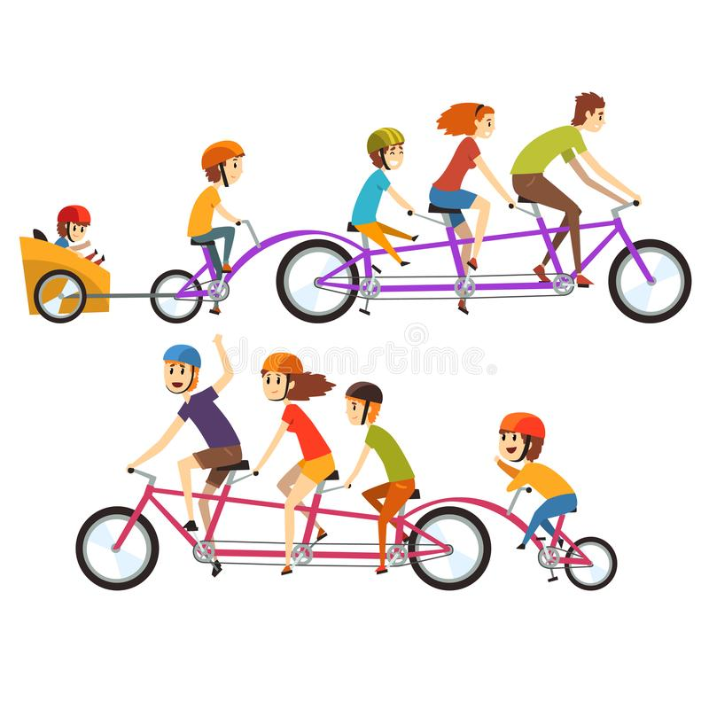 Illustration of two happy families riding on big tandem bike. Funny recreation with kids. Cartoon people characters with. Colorful illustration of two happy stock illustration