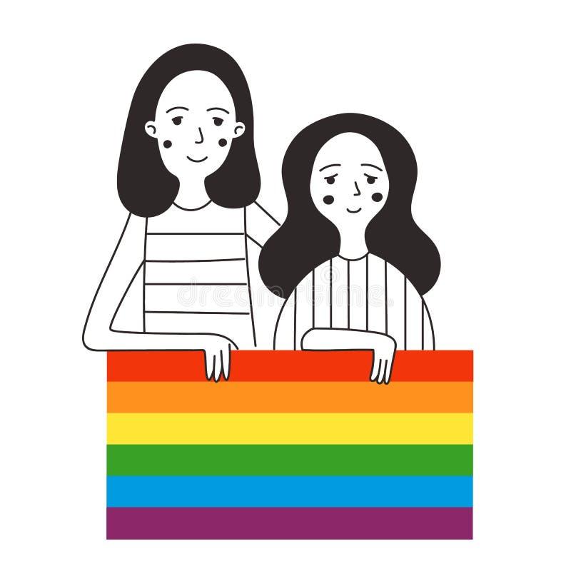 Illustration of two lesbians holding a rainbow flag. royalty free illustration