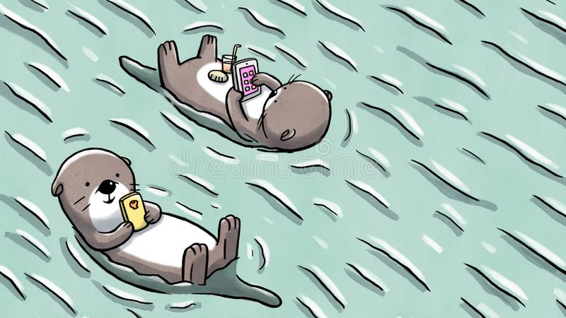 Two otters floating on water holding mobile and tablet. Illustration of two otters floating on water and using mobile devices as they relax royalty free illustration