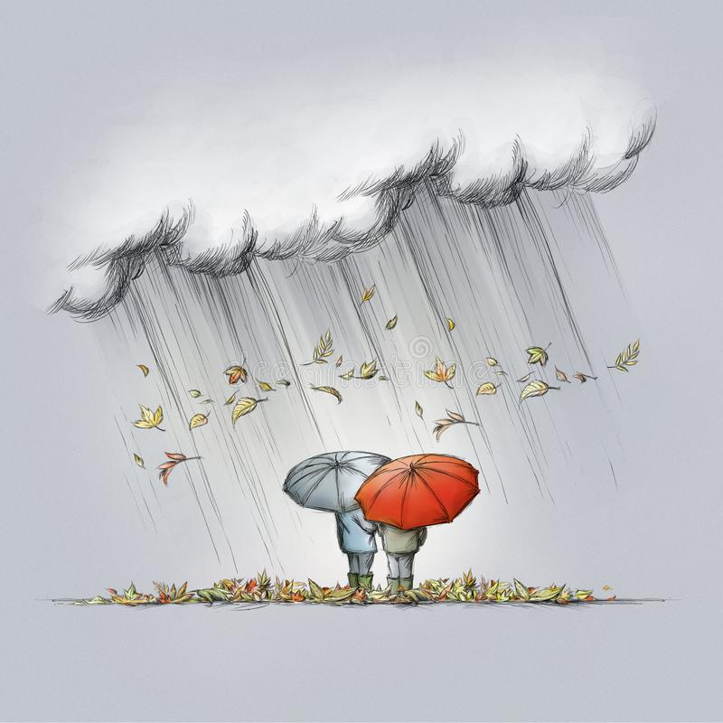 Two people with umbrellas in autumn weather. Illustration of Two people with umbrellas in autumn weather vector illustration