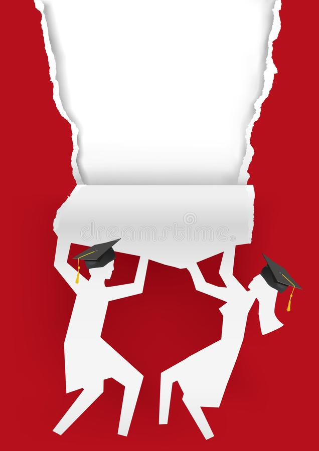 Girl amd boy graduates, torn red paper background. Illustration of two students paper silhouettes with mortarboard ripped paper. Template for announcement of stock illustration