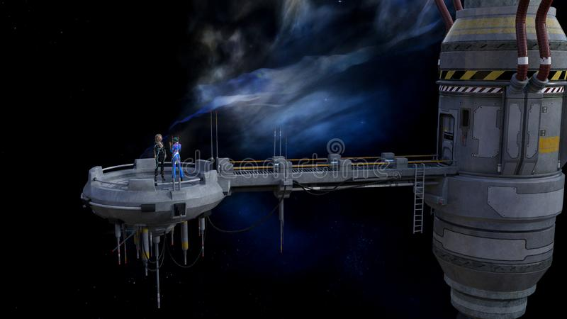 Illustration of two women talking on a platform attached to a ship in space with a nebula in the background. 3d illustration of two women talking on a platform royalty free illustration