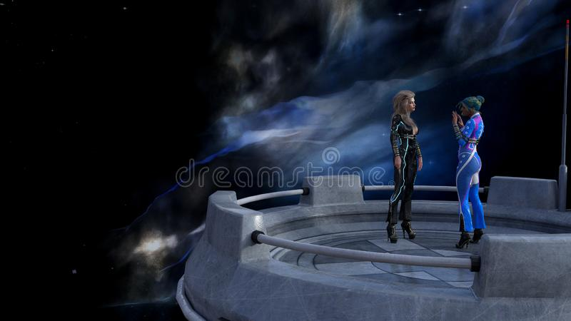 Illustration of two women talking on a platform in space with a nebula in the background. 3d illustration of two women talking on a platform in space with a vector illustration