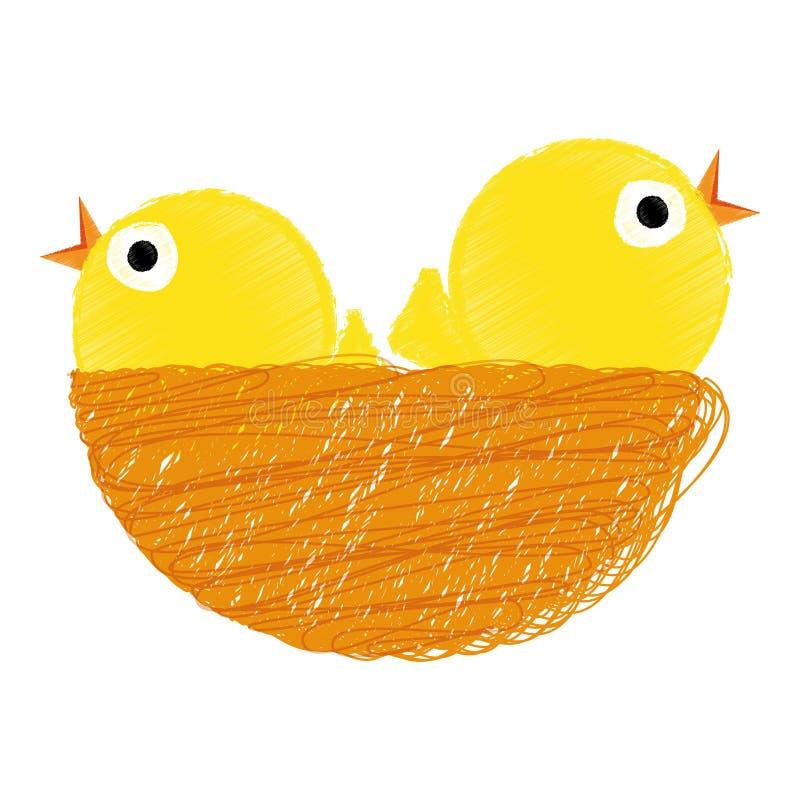 Chicks on nest. Vector illustration of two yellow chicks in nest - Easter stock illustration