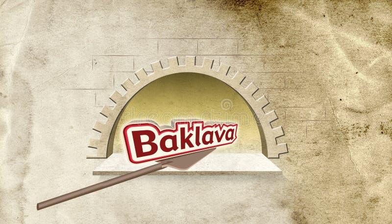Illustration ; Typographie en pierre d'Oven Bakery et de baklava Orthographe turque illustration de vecteur